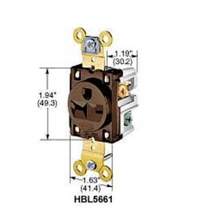HBL5661CN HUBBELL RECEPTACLE BROWN